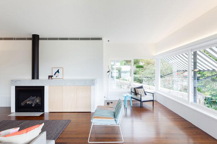 House Chapple's lounge area enjoys plenty of sunlight thanks to the original wrap around glass