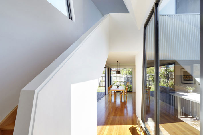 Yarra Street House corridor between old and new house with stair to upstairs lounge