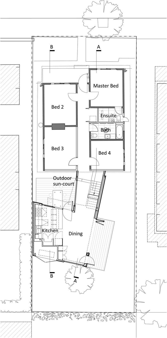 Yarra Street House: Ground floor plan showing the existing house and the new pavilion-style extension