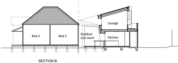 Yarra Street House: Section B showing outdoor sun-court, kitchen and upstairs lounge